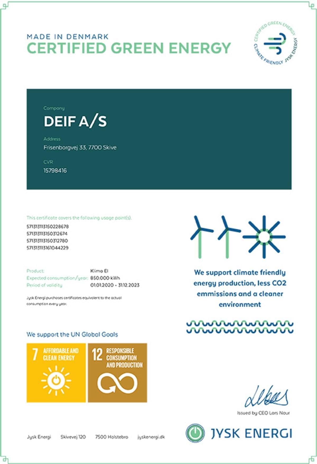 Klimacertifikat DEIF Engelsk Version